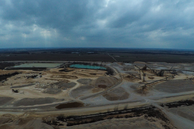 Aggregate mining company Vulcan's mining operation near Pennington Creek in south-central Oklahoma.