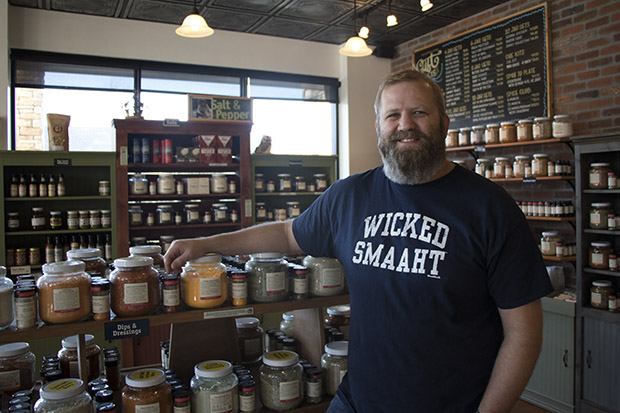 Electric vehicle owner Able Blakley in his Oklahoma City spice shop.