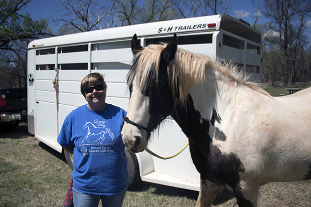 Clinton, Oklahoma, resident Cindy Box and her Horse, Rosie, at Foss State Park.