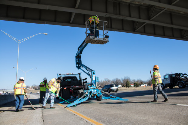 Crews with the Oklahoma Department of Transportation repairing an overpass in Oklahoma City.