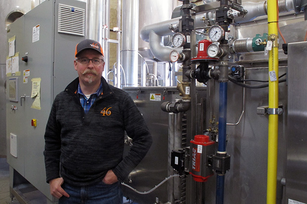 J.D. Drennan in 46 Grain's new malting facility just outside of Ames, Oklahoma.