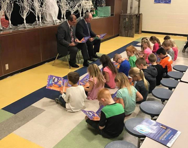 State Rep. Tom Gann and State Sen. Marty Quinn read aloud to first graders at Jefferson Elementary School in Pryor, Oklahoma.