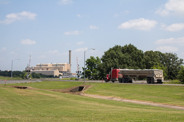 A truck enters the coal-fired AES Shady Point Generating Station near Bokoshe, Okla.