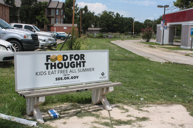 The Oklahoma State Department of Education is trying to spread awareness of the summer feeding program through bus benches and radio PSAs.
