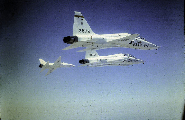 T-38 Talon training aircraft from Vance Air Force Base in Enid participating in a fly-over in Oklahoma City.