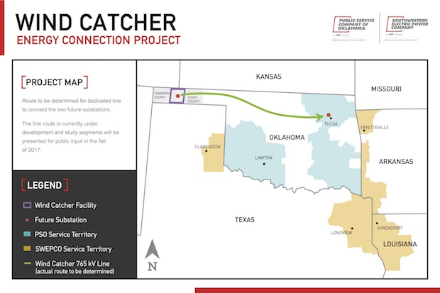 Map showing location of Wind Catcher project, including the rough path of a 350-mile power line connecting it to customers in eastern Oklahoma and Arkansas, Louisiana and Texas.