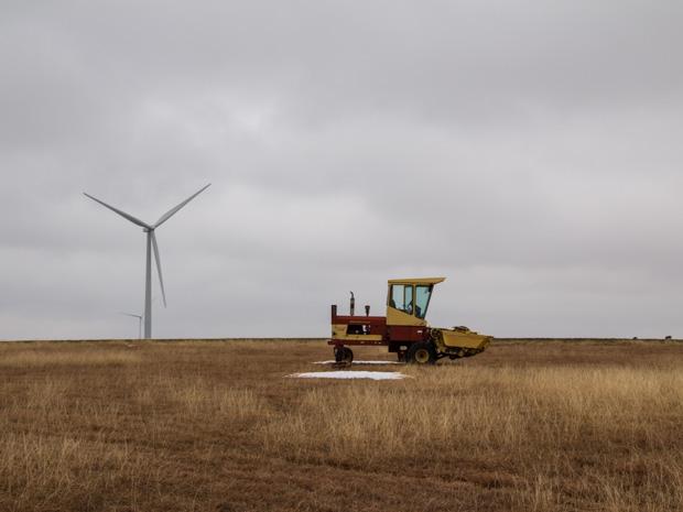 A wind turbine in northwestern Oklahoma.