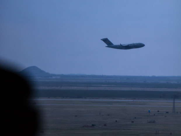 A C-17 shortly after taking off at Altus Air Force Base.
