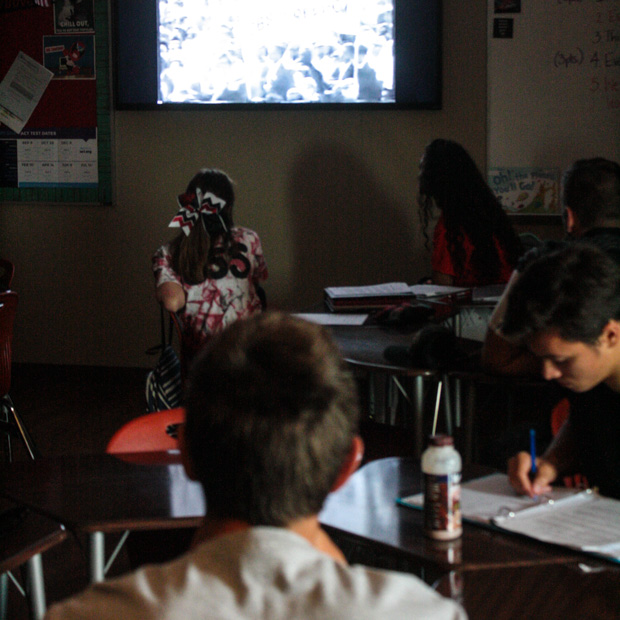 "Students at Luther High School watch Martin Luther King Jr.'s ""I Have a Dream Speech"" before a class discussion."