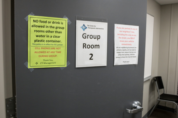 The entrance to a therapy room at the Center for Therapeutic Interventions in Tulsa, one of the few treatment centers in the state that specializes in opioid addiction.