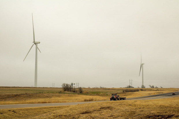 A line of wind turbines near Seiling, Okla.