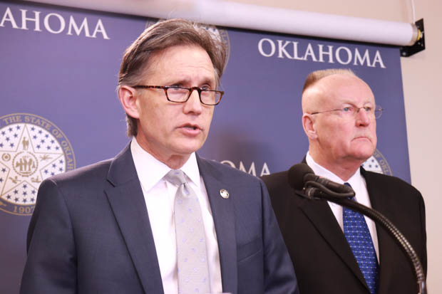Attorney General Mike Hunter and Corrections Director Joe Allbaugh speak at a March 2018 press conference about the state's plans to use nitrogen gas to execute death row inmates.