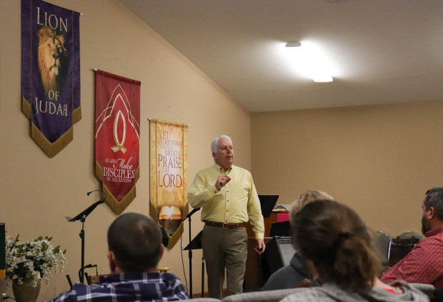 Jim McBride leads a church security training at First United Methodist Church in Newkirk.