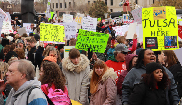 Oklahoma Educators and supporters rally outside the state Capitol on Monday.