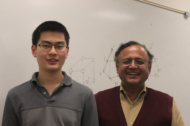 George Wang (left) and his chemistry teacher Fazlur Rahman (right). Wang discovered Carbon atoms can make more bonds than ever thought.