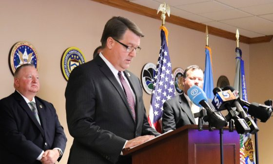 Acting U.S. Attorney Bob Troester announces indictments in a conference room at the U.S. Attorney's Office for the Western District of Oklahoma.