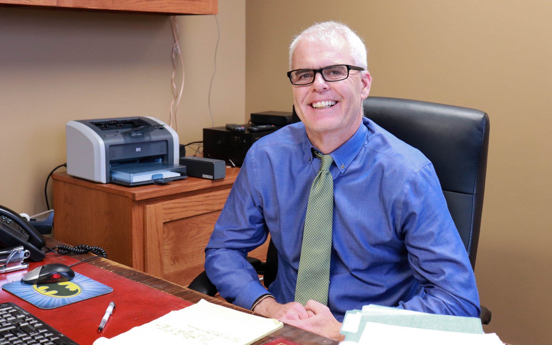 Doug Drummond sits in his Tulsa office.