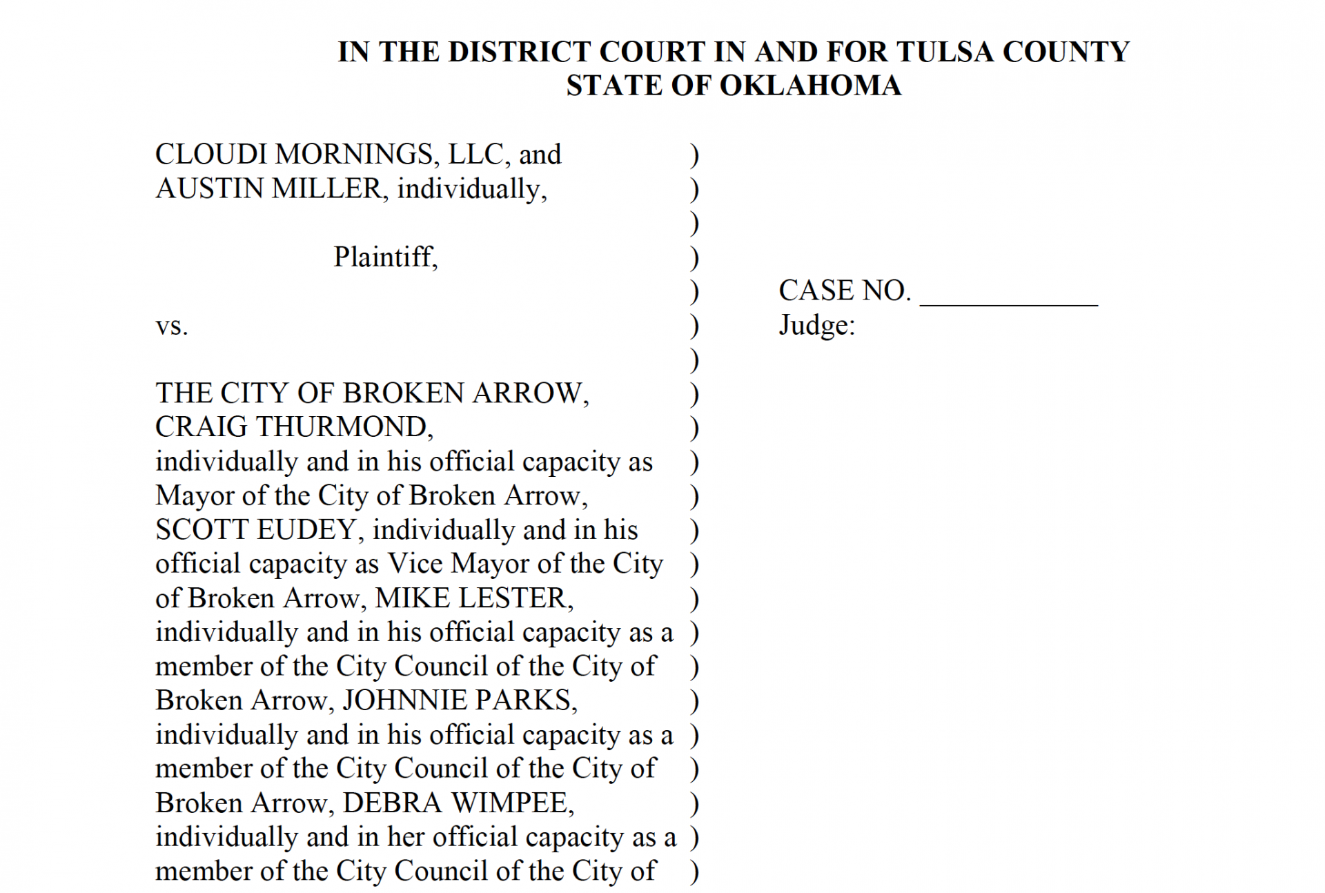 Screenshot of an application for emergency injunction filed against the City of Broken Arrow