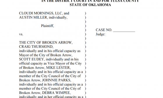 Screenshot of lawsuit filed against the City of Broken Arrow