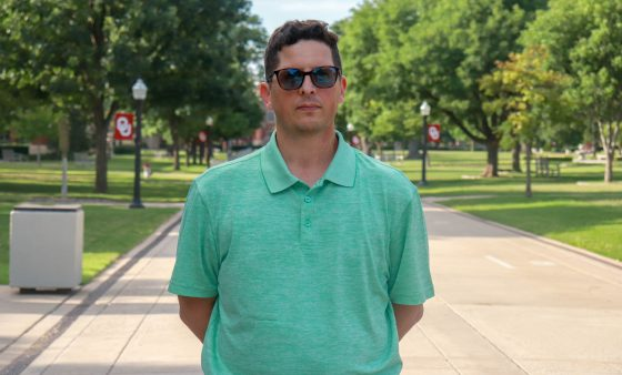 Gary Leonhardt standing on the University of Oklahoma campus in Norman.