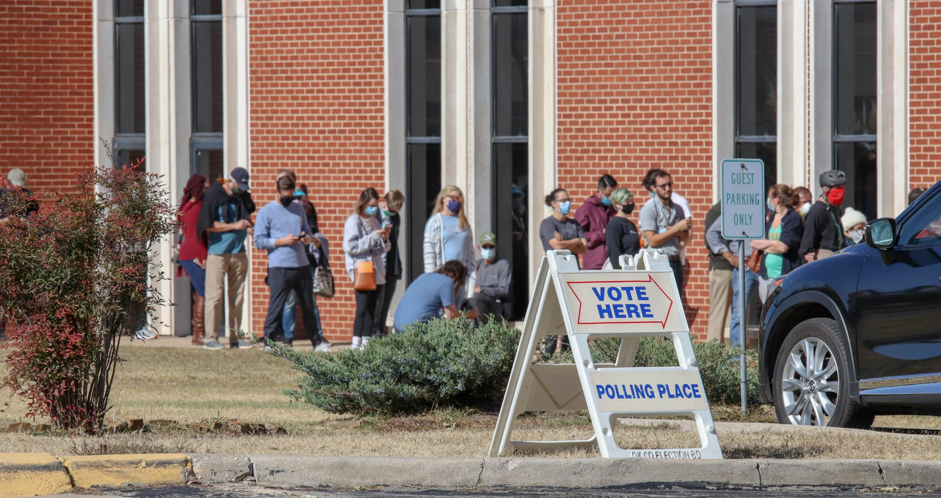 Voters stand in line outside Trinity Baptist Church in Oklahoma City.