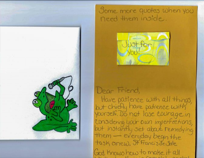 A poem from a woman incarcerated in a state prison. There are two pages. One page on the left is a folded white paper with a drawing of a green frog singing into a microphone. The second page is yellow and has a poem written by hand.