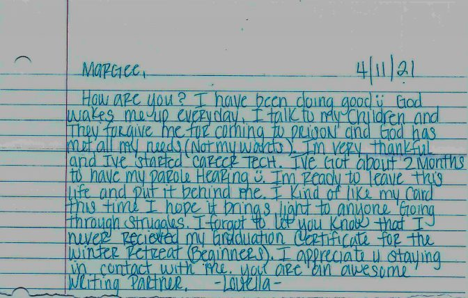 A letter from a woman incarcerated in a state prison.