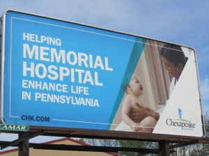 Billboard in Bradford County Pennsylvania where Chesapeake Energy has stepped up drilling for natural gas