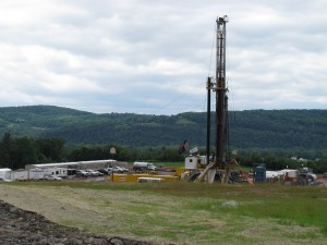 A drilling rig in Bradford County.