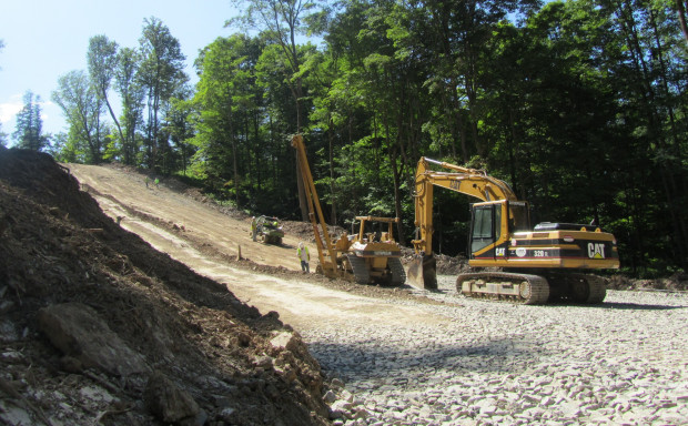 Workers prepare to lay a natural gas pipeline in Susquehanna County, Pa.
