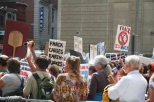 Activists protest outside an industry conference in Philadelphia in September 2011.