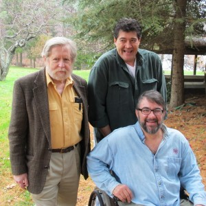 Curt Coccodrilli (R) with his brother Chuck and Peter Wynne, on their property which lies on the border of the Susquehanna and Delaware river basins.
