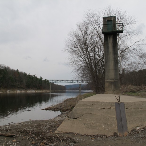 A river gage, built in the 1930's, sits along the Delaware River in Milford, Pa. The gage continues to be used as a way to divvy up shared water resources for New York, New Jersey, Pennsylvania, and Delaware.