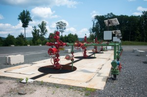 This is what a gas well site looks like when the wells are in production. This site in Lycoming County has four wells.