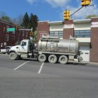 A truck drives through Towanda, Bradford County