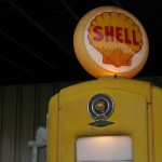 An antique Shell gasoline pump at an Ohio oil and gas museum