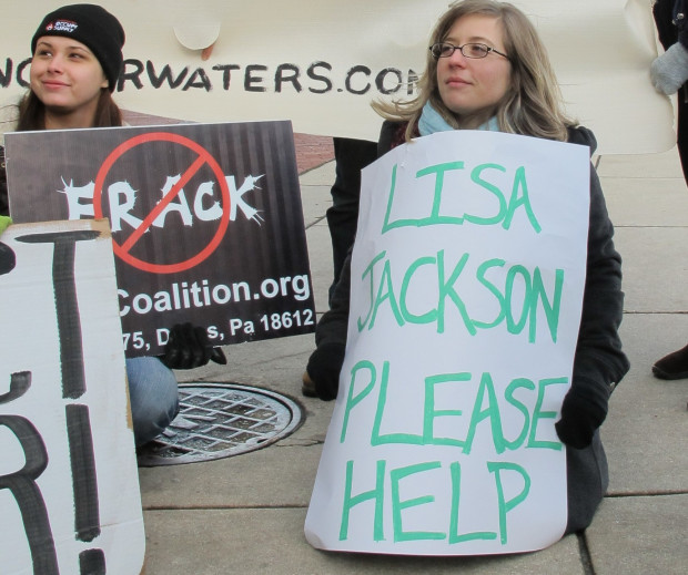 A protester urges EPA Administrator Lisa Jackson to intervene in Dimock's water woes last December.