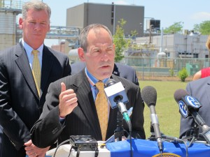 Department of Environmental Protection Secretary Michael Krancer at a press conference in Marcus Hook detailing the results of the IHS study on refinery re-use.