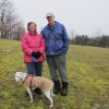 Marianne and Rick Atkinson with their dog Spot, on their property in Clearfield County.