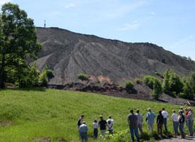 A coal waste heap rises above the landscape in southwestern Pennsylvania.
