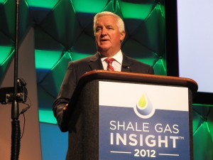 Governor Corbett speaks to the Shale Gas Insight conference in September 2011.