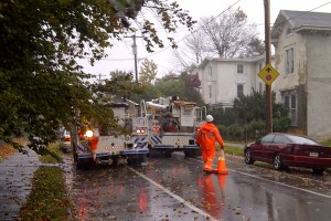 PECO workers tend to power outages in along High Street in Germantown as Superstorm Sandy heads toward Philadelphia, Monday, October 29, 2012.