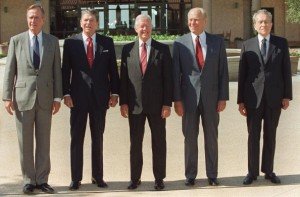 Presidents Ronald Reagan, Jimmy Carter, Gerald Ford, and....in front of the Reagan Library in 1991.