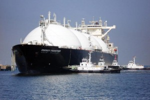 A liquefied natural gas (LNG) tanker arrives at a gas storage station in Japan. The fuel came from an export terminal in Sakhalin, Russia.