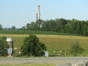 A drill rig rises above a farm in Northeastern Pennsylvania.