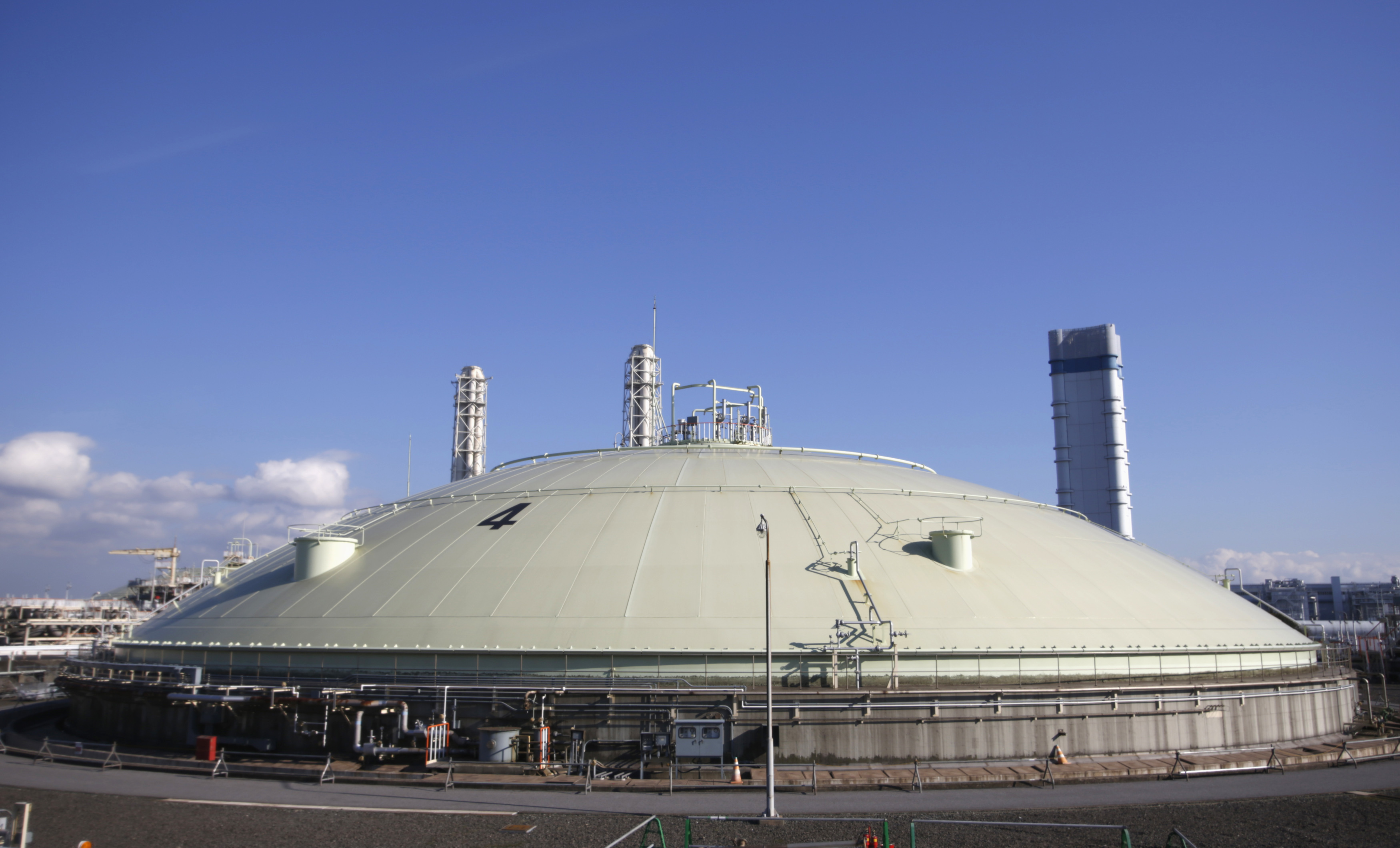 A LIQUEFIED NATURAL GAS STORAGE TANK IS SEEN AT TOKYO ELECTRIC