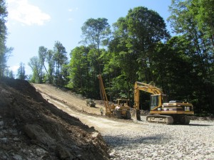 Bulldozers clear land for a Marcellus Shale gas pipeline in Northeast Pennsylvania.