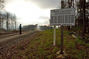 A sign post marks some of the natural gas drilling wells from Senaca Resources in the Loyalsock State Forest.