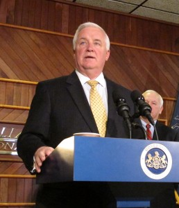 Gov. Corbett promoting the Marcellus Shale earlier this year in Williamsport, Pennsylvania.