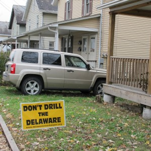 A lawn sign opposing gas drilling in the Delaware River Basin. Gas development along the Delaware River and its tributaries has become contentious.